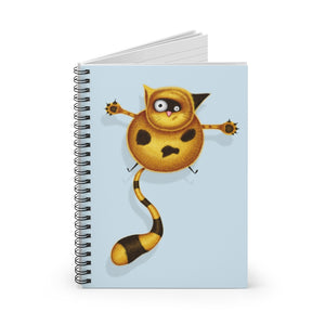 Fat Cat | Blue | Lined Spiral Notebook 118 Pages-118 pages notebook-Spiral Notebook-Eggenland