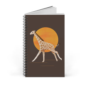 Giraffe and Sun | Brown | Spiral Notebook 80 pages-80 pages notebook-Blank-Spiral Notebook-Eggenland