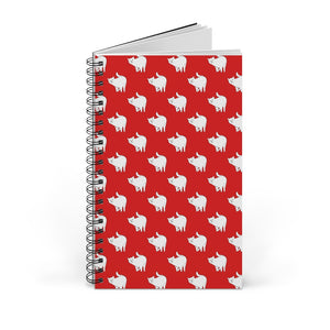 Cute Cat Pattern | Red | Spiral Notebook 80 pages-80 pages notebook-Blank-Spiral Notebook-Eggenland