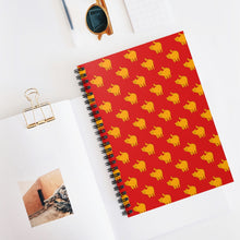 Load image into Gallery viewer, Yellow Cat Pattern | Red | Lined Spiral Notebook 118 Pages-118 pages notebook-Spiral Notebook-Eggenland