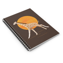 Load image into Gallery viewer, Giraffe and Sun | Brown | Lined Spiral Notebook 118 Pages-118 pages notebook-Spiral Notebook-Eggenland