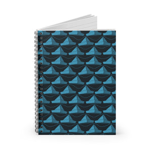 Paper Hats Pattern | Blue | Lined Spiral Notebook 118 Pages-118 pages notebook-Spiral Notebook-Eggenland