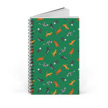 Load image into Gallery viewer, Funky Cats Pattern | Green | Spiral Notebook 80 pages-80 pages notebook-Blank-Spiral Notebook-Eggenland