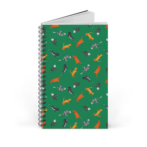 Funky Cats Pattern | Green | Spiral Notebook 80 pages-80 pages notebook-Blank-Spiral Notebook-Eggenland