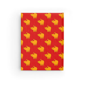 Yellow Cat Pattern | Red | Journal - Blank-journals-Journal-Eggenland