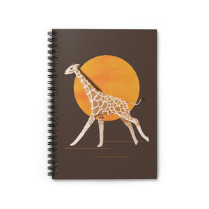 Giraffe and Sun | Brown | Lined Spiral Notebook 118 Pages-118 pages notebook-Spiral Notebook-Eggenland