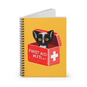 FIRST AID KITten | Yellow | Lined Spiral Notebook 118 Pages-118 pages notebook-Spiral Notebook-Eggenland