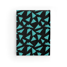 Load image into Gallery viewer, Paper Planes Pattern | Black Blue | Journal - Blank-journals-Journal-Eggenland
