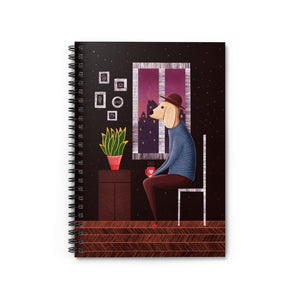 Charlie Waiting for Love | Lined Spiral Notebook 118 Pages-118 pages notebook-Spiral Notebook-Eggenland