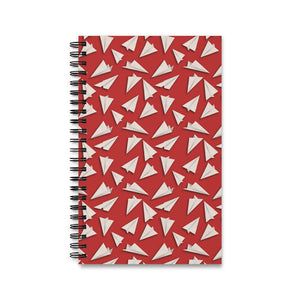 Paper Planes Pattern | Red | Spiral Notebook 80 pages-80 pages notebook-Eggenland