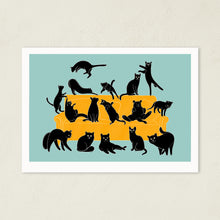 Load image into Gallery viewer, Black Cats Party | Art Print-art print-A4-Blue-Eggenland