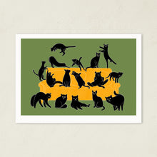 Load image into Gallery viewer, Black Cats Party | Art Print-art print-A4-Green-Eggenland