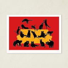 Load image into Gallery viewer, Black Cats Party | Art Print-art print-A4-Red-Eggenland