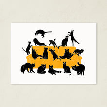 Load image into Gallery viewer, Black Cats Party | Art Print-art print-A4-White-Eggenland
