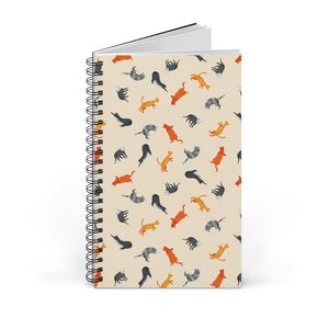 Funky Cats Pattern | Cream | Spiral Notebook 80 pages-80 pages notebook-Blank-Spiral Notebook-Eggenland