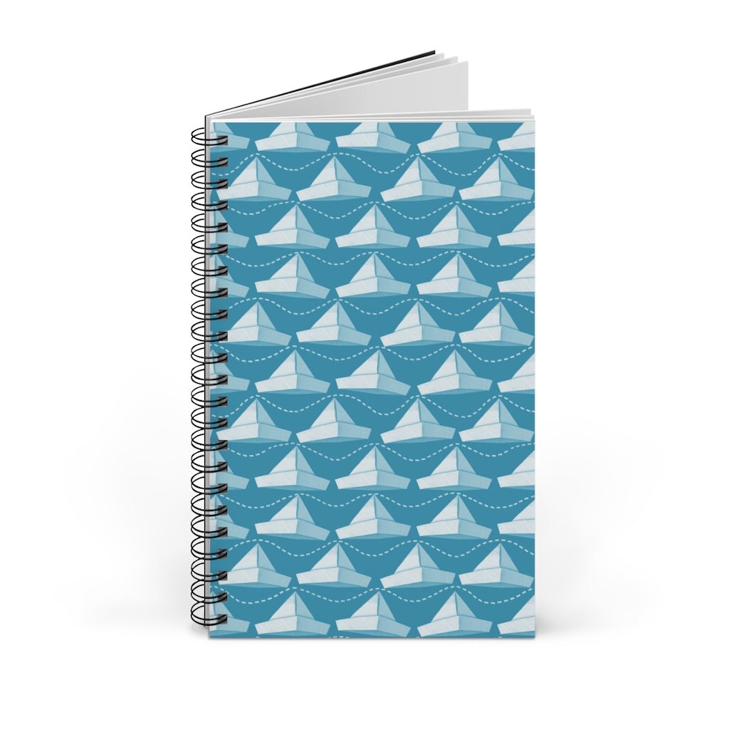 Paper Hats Pattern | Blue | Spiral Notebook 80 pages-80 pages notebook-Blank-Spiral Notebook-Eggenland