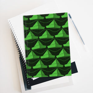 Paper Hats Pattern | Green Black | Journal - Blank-journals-Journal-Eggenland