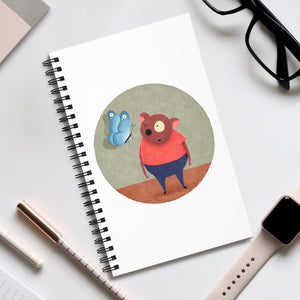 Bear and Butterfly | Spiral Notebook 80 pages-80 pages notebook-Eggenland