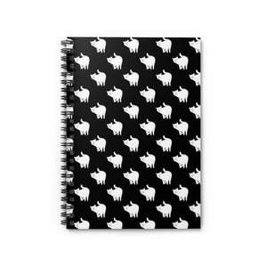Cute Cat Pattern | Black and White | Lined Spiral Notebook 118 Pages-118 pages notebook-Spiral Notebook-Eggenland