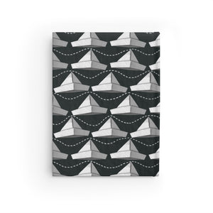 Paper Hats Pattern | Black and White | Journal - Blank-journals-Journal-Eggenland