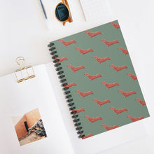 Load image into Gallery viewer, Cute Dachshund Dog | Green | Lined Spiral Notebook 118 Pages-118 pages notebook-Spiral Notebook-Eggenland