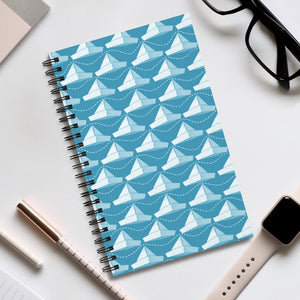 Paper Hats Pattern | Blue | Spiral Notebook 80 pages-80 pages notebook-Eggenland