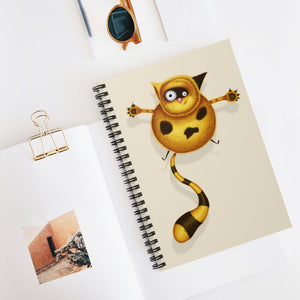 Fat Cat | Cream | Lined Spiral Notebook 118 Pages-118 pages notebook-Spiral Notebook-Eggenland