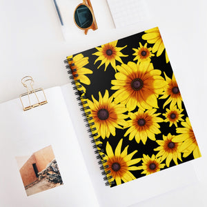 Blooming Flowers | Black | Lined Spiral Notebook 118 Pages-118 pages notebook-Spiral Notebook-Eggenland