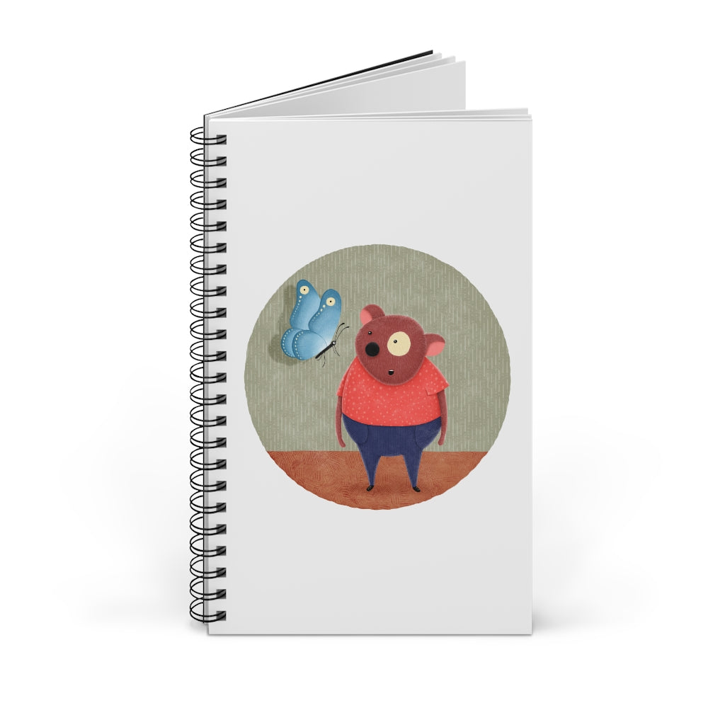 Bear and Butterfly | Spiral Notebook 80 pages-80 pages notebook-Blank-Spiral Notebook-Eggenland