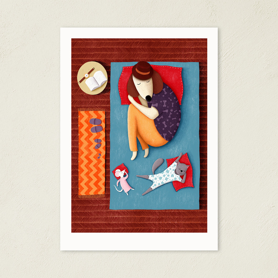 Good Night Sleep Tight | Dog, Cat and Mouse Illustration | Art Print-art print-A4-Eggenland