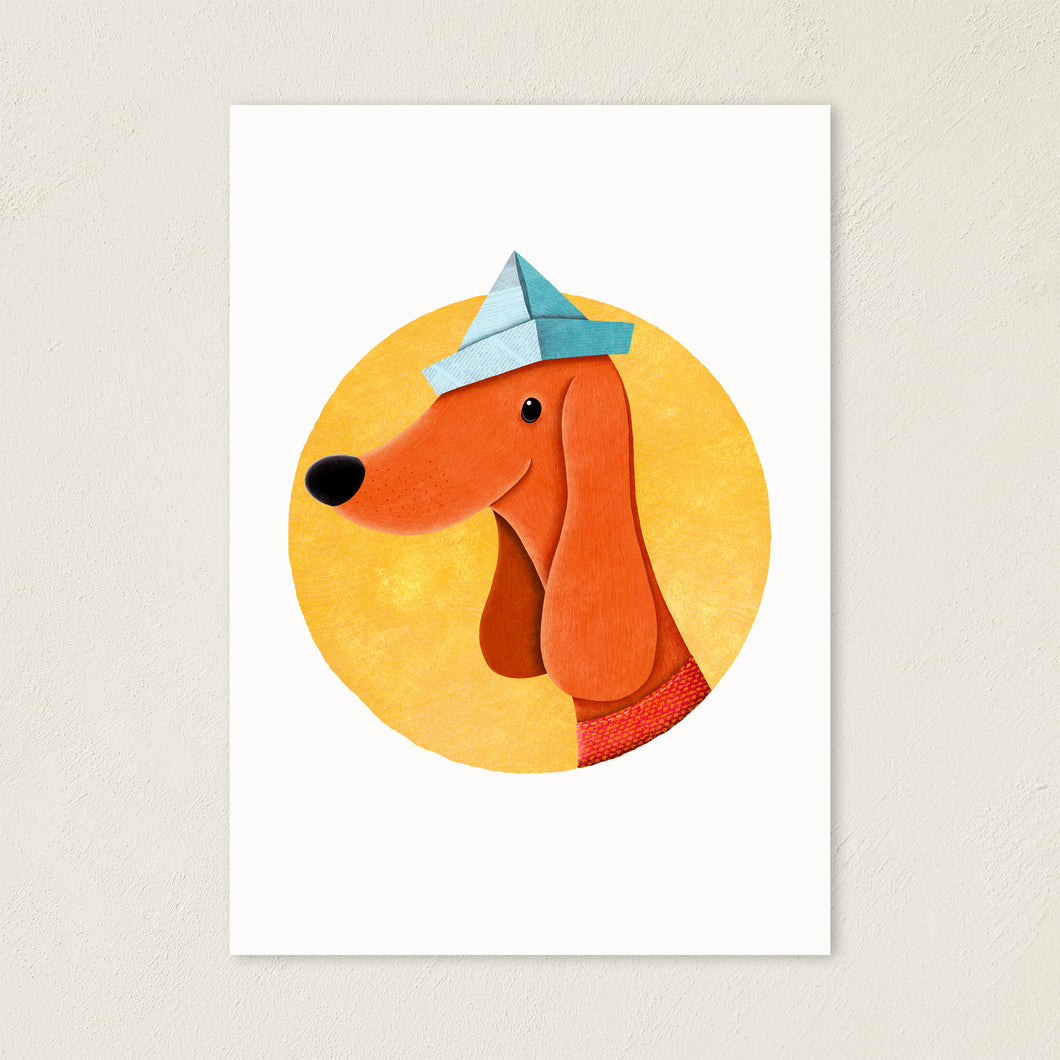 Cute Dog With Paper Hat | Illustration | Art Print-art print-Eggenland