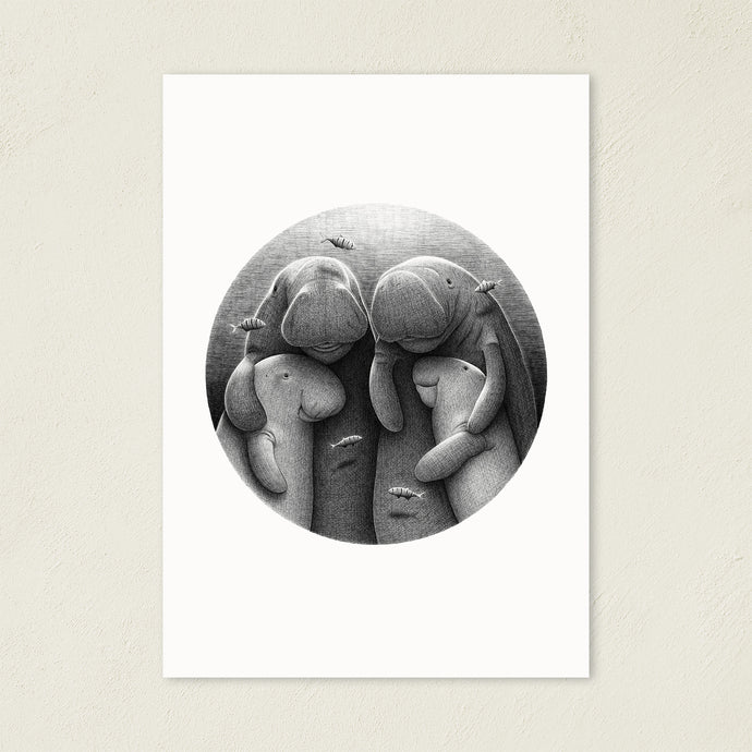 Dugong Family | Black and White Illustration | Art Print-art print-A4-Eggenland