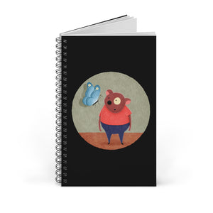 Bear and Butterfly | Black | Spiral Notebook 80 pages-80 pages notebook-Blank-Spiral Notebook-Eggenland