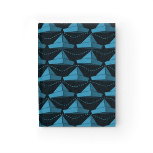 Paper Hats Pattern | Blue Black | Journal - Blank-journals-Journal-Eggenland
