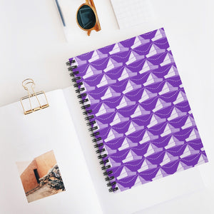 Paper Planes Pattern | Violet White | Lined Spiral Notebook 118 Pages-118 pages notebook-Spiral Notebook-Eggenland