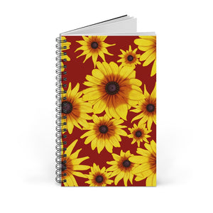 Blooming Flowers | Red | Spiral Notebook 80 pages-80 pages notebook-Blank-Spiral Notebook-Eggenland