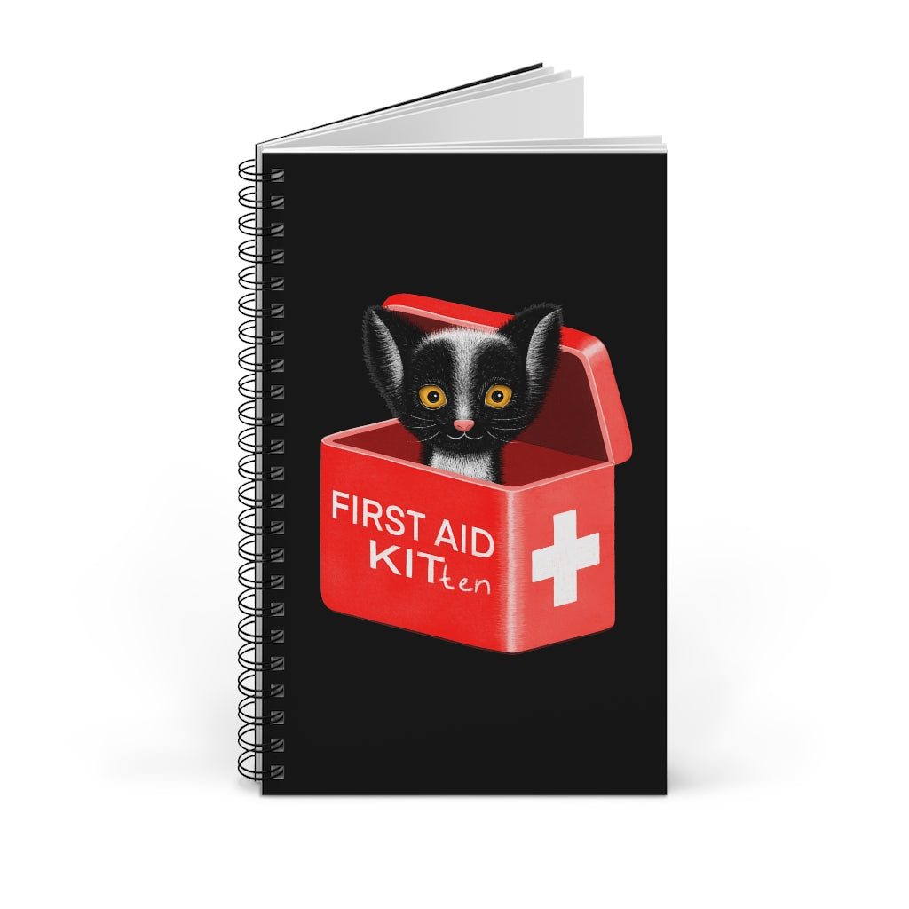 FIRST AID KITten | Black | Spiral Notebook 80 pages-80 pages notebook-Blank-Spiral Notebook-Eggenland