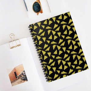 Paper Planes Pattern | Black Yellow | Lined Spiral Notebook 118 Pages-118 pages notebook-Spiral Notebook-Eggenland