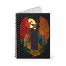 Load image into Gallery viewer, Deer Creature at Night | Black | Lined Spiral Notebook 118 Pages-118 pages notebook-Spiral Notebook-Eggenland