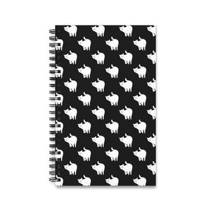 Cute Cat Pattern | Black and White | Spiral Notebook 80 pages-80 pages notebook-Eggenland