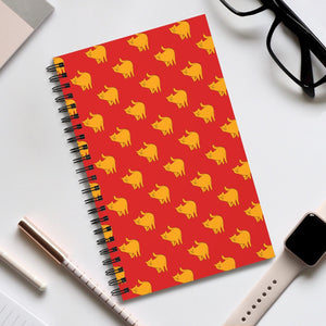 Yellow Cat Pattern | Red | Spiral Notebook 80 pages-80 pages notebook-Eggenland