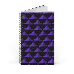 Paper Hats Pattern | Black Violet | Spiral Notebook 80 pages-80 pages notebook-Blank-Spiral Notebook-Eggenland