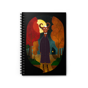 Deer Creature at Night | Black | Lined Spiral Notebook 118 Pages-118 pages notebook-Spiral Notebook-Eggenland