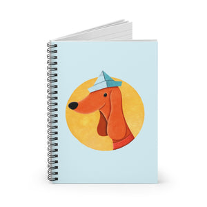 Dog with Newspaper Hat | Blue | Lined Spiral Notebook 118 Pages-118 pages notebook-Spiral Notebook-Eggenland