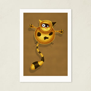 Fat Cat | Illustration | Art Print-art print-A4-Brown-Eggenland