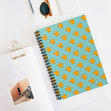 Load image into Gallery viewer, Yellow Cat Pattern | Blue | Lined Spiral Notebook 118 Pages-118 pages notebook-Spiral Notebook-Eggenland