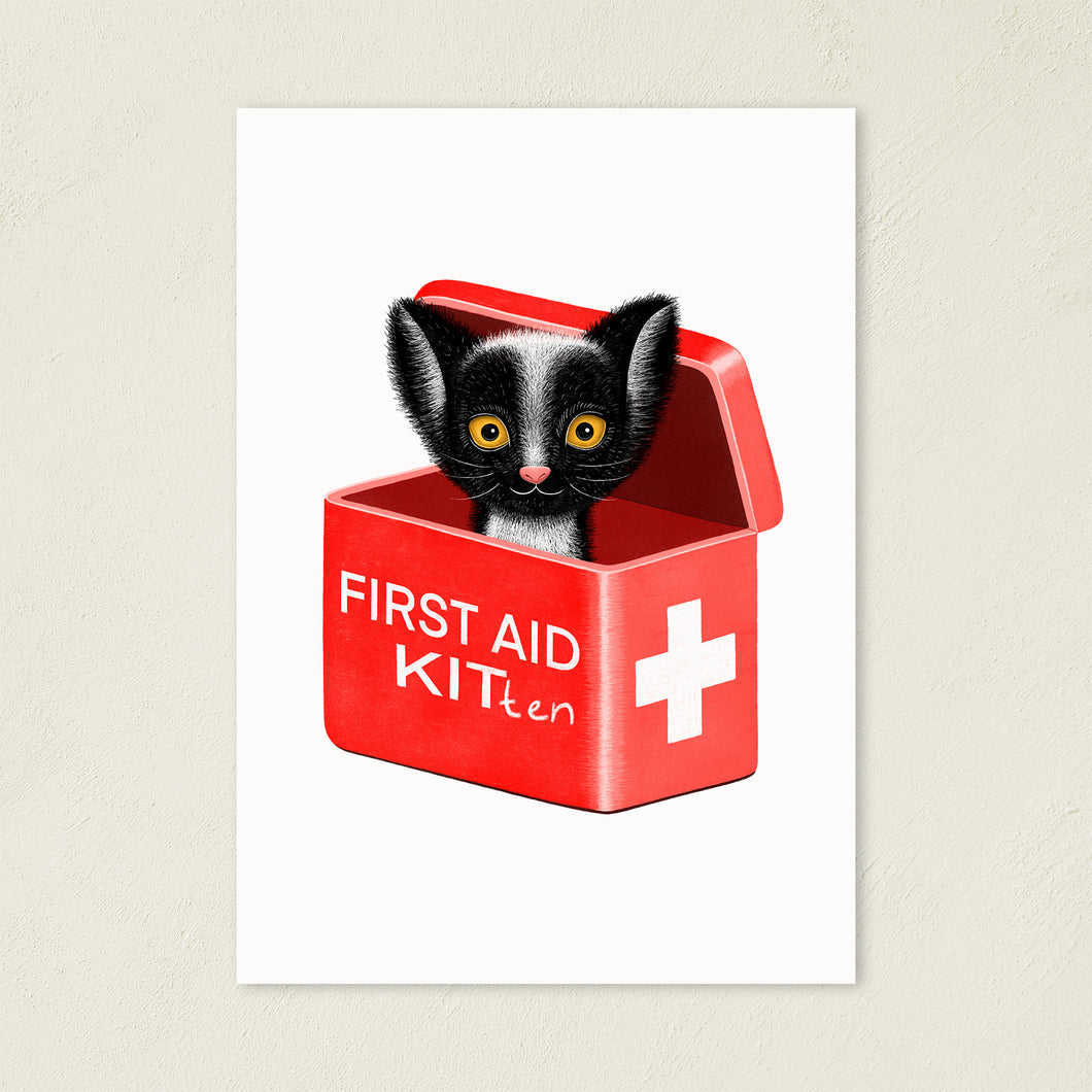First Aid Kitten | Illustration | Art Print-art print-A4-White-Eggenland