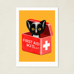 First Aid Kitten | Illustration | Art Print-art print-A4-Yellow-Eggenland
