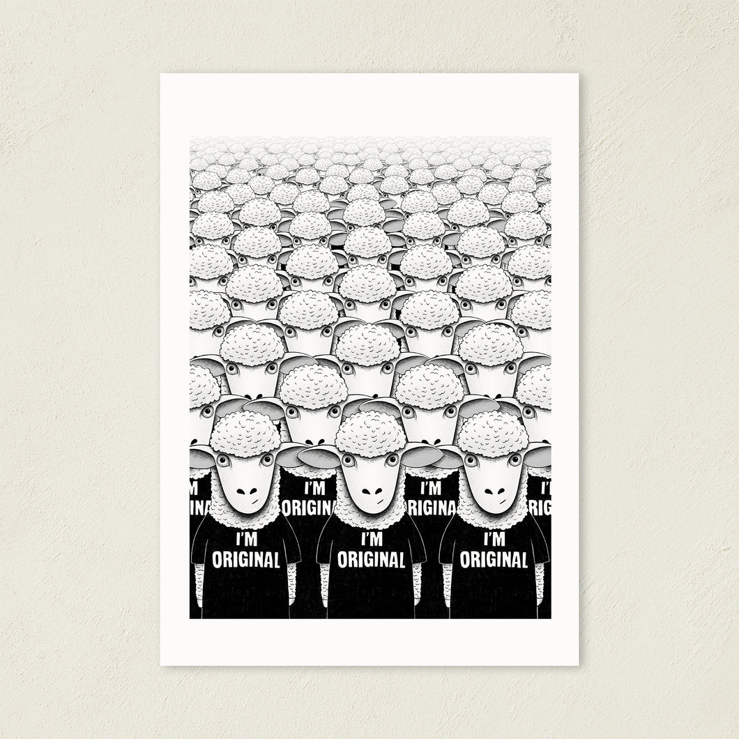 There's Nobody Like Meh | Black and White Illustration | Art Print-art print-A4-Eggenland