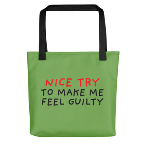 Nice Try | Green | Tote Bag-tote bags-Black-Eggenland